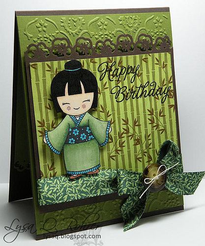 handmade birthday card ... Hero Arts ... Good Fortune ... adorable little girl in kimono ... almost monochromatic green ... sweet ... beautiful coloring of the stamped image ...
