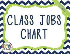 Looking for a stylish, yet fully functional job chart? Our Navy and Lime Green Classroom Job Chart is versatile.  Cut out and use them as labels on book pockets with students' names on Popsicle sticks, laminate and hot glue on a ribbon and use clothes pins for students' names, or simply staple on a bulletin board.