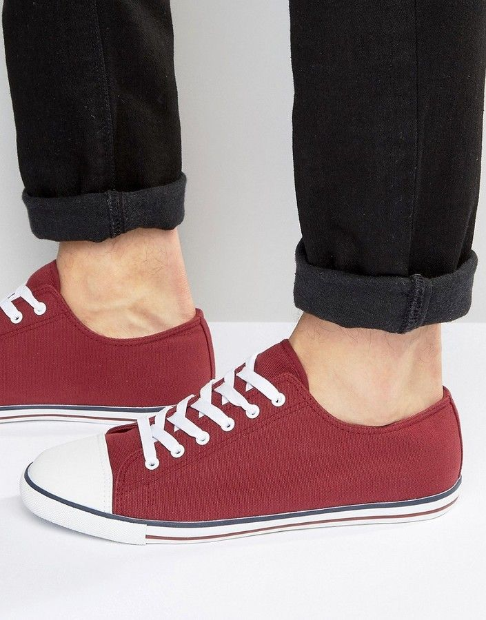 ASOS Lace Up Sneakers in Burgundy Canvas With Toe Cap