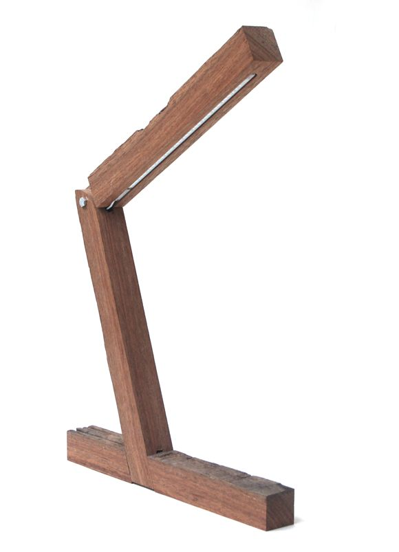 Desk lamp from recycled wood with with LED light source