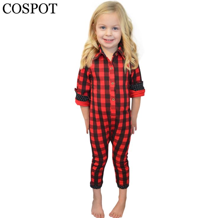 COSPOT Baby Boys Girls Spring Rompers Newborn Winter Cotton Pajamas Girl Boy Fashion Red Plaid Jumpsuit 2017 New Arrival 25F