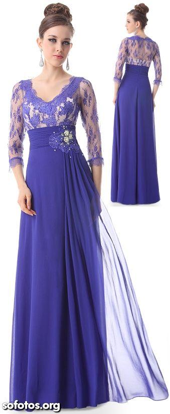 Vestido de festa formal azul