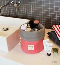 Em forma de barril de viagem cosméticos saco de Nylon Wash sacos de maquiagem organizador saco de viagem de armazenamento de alta capacidade cordão elegante tambor(China (Mainland))