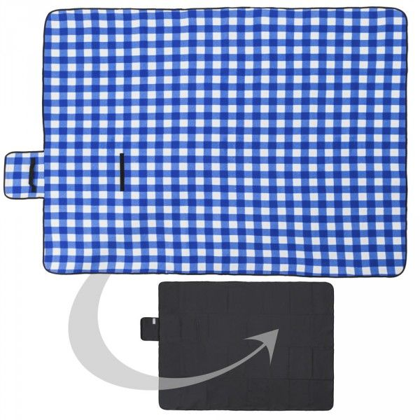 Picknickdeken 200x150cm vochtbestendig blauw/wit