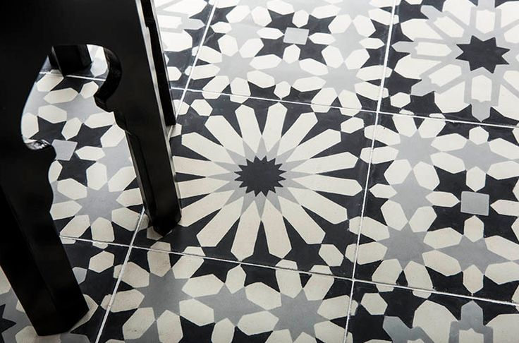 Add an exotic element to your kitchen floor with these striking monochrome tiles – Eastern Promise by Ann Sacks.