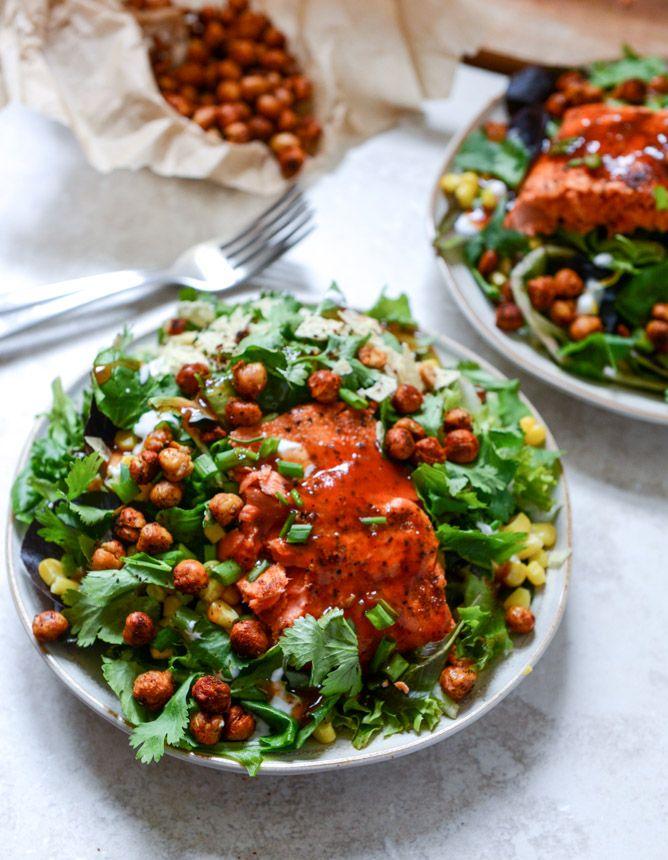 holy wow. bbq salmon + crispy chickpea salad w/ ranch greek yogurt drizzle // howsweetitis