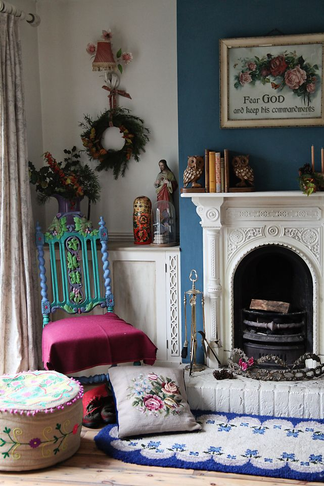 @Annie Sloan Aubusson on chimney breast and multi colours on chair. Boho eclectic folksy chic