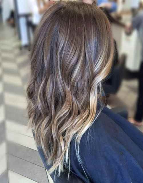subtle balayage for long layered brown hair (Balayage hightlights ... mas intensas en el contorno de la cara)