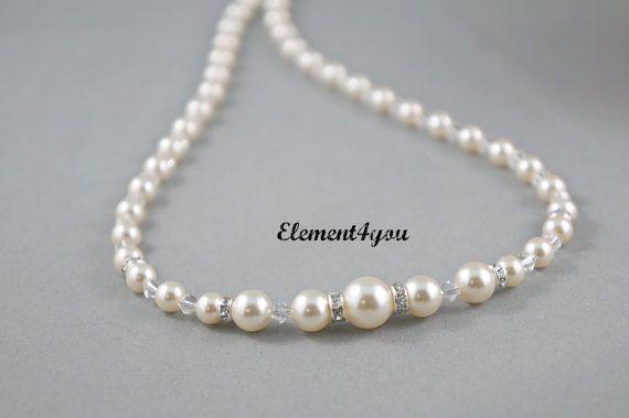 Bridal Pearl Necklace Wedding Jewelry Graduating Swarovski pearls crystals Bridesmaid gift Bridal party Maid of honor Rhinestone Classic