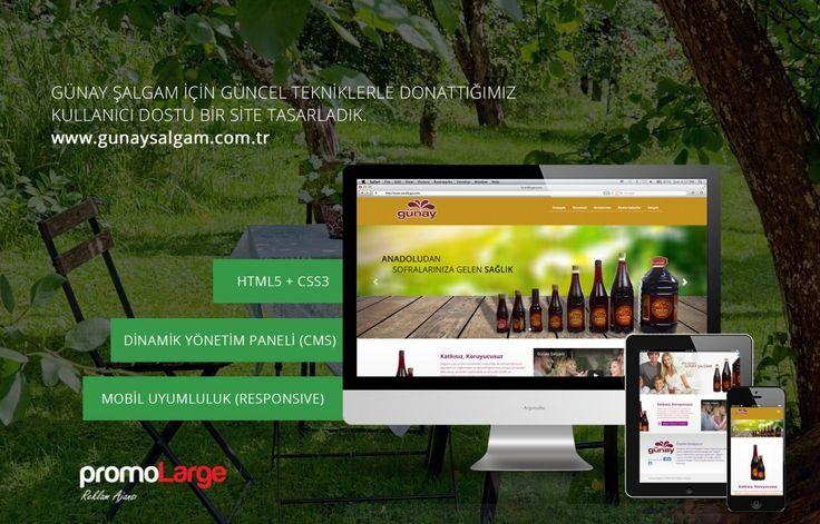 Günay Şalgam için hazırlanan mobil uyumlu yönetim panelli web sitesi.