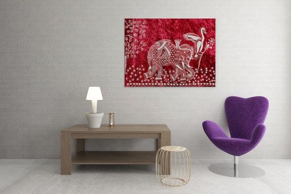 A Day of a Kingly Elephant in His Royal Palace by Mggkarthouse #holiday #christmas #gifts #handmade #zentangle #lineart #inkart #indiaart #designer #buynow #uniquegifts #canvas #red #white #painitngs