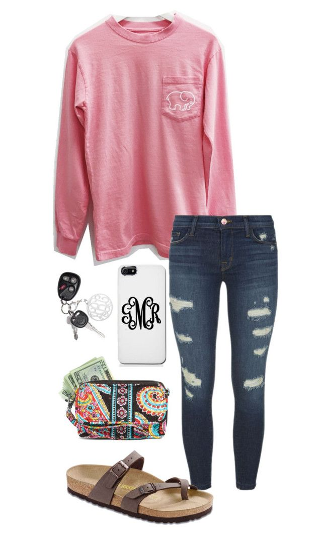 """Untitled #619"" by shelbycooper ❤ liked on Polyvore featuring J Brand, Birkenstock and Vera Bradley"