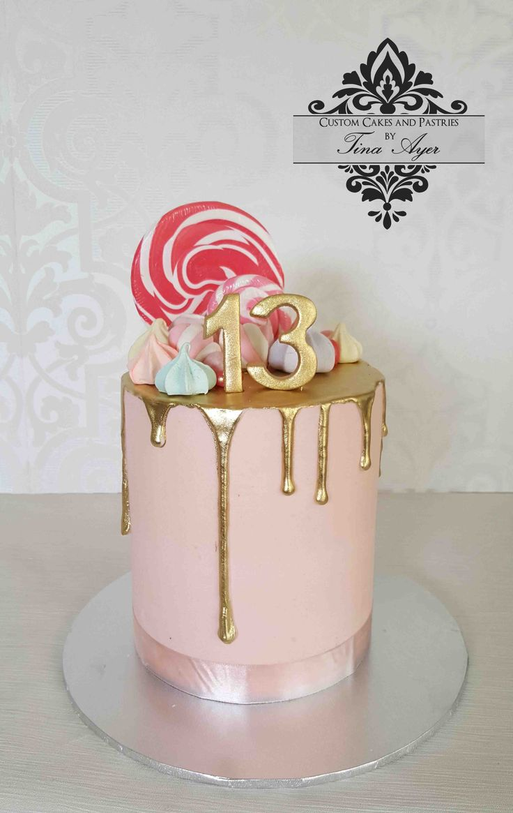 Pink And Gold Drip Cake Birthday Drip Cake 14th