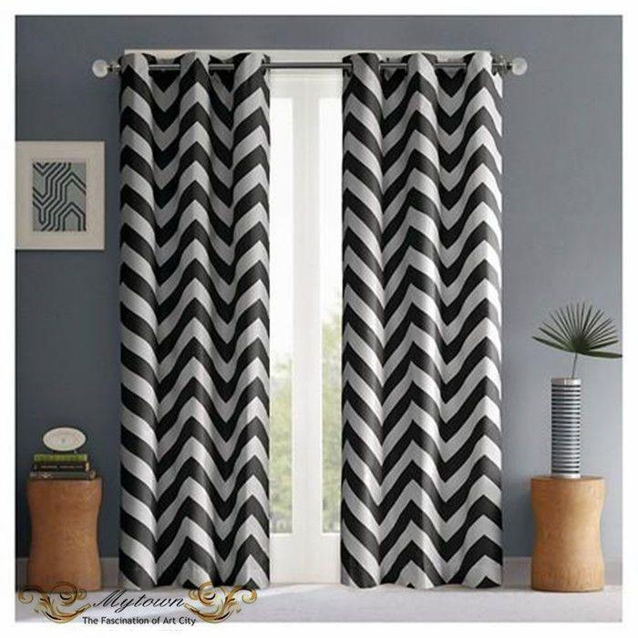 Modern Chevron Zigzag Black White Curtain 80% Light Blackout Eyelet Top Curtains