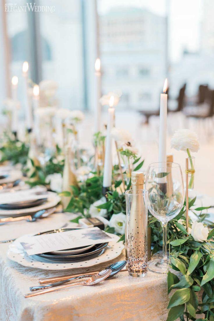 Gold Champagne Bottle Wedding Decor, Greenery Table Setting | Glam New Year's Eve Wedding Ideas | ElegantWedding.ca