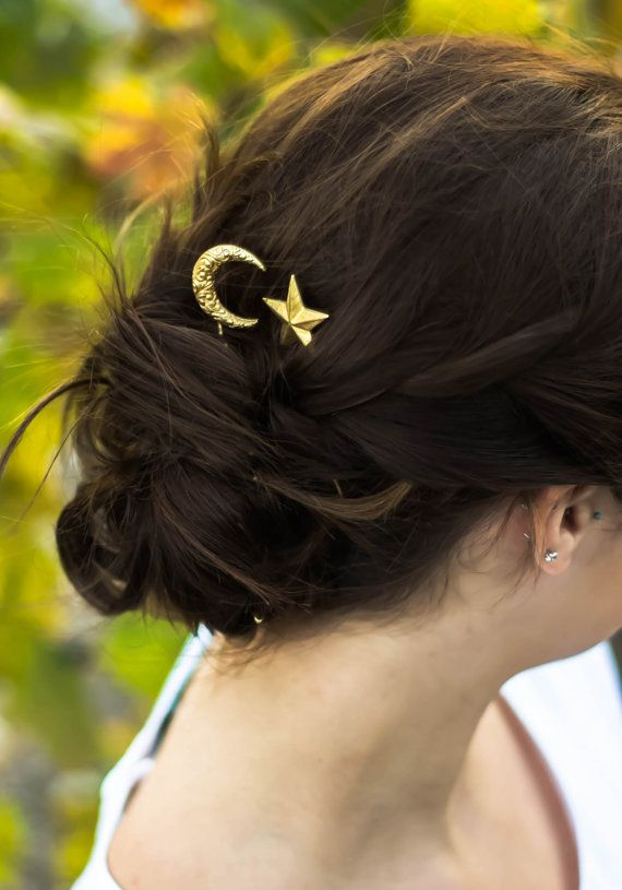 crescent moon & star hair clips paisley moon hair by luxebuffalo
