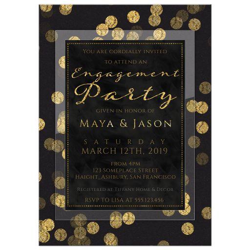 Elegant black and gold confetti engagement party invitation.