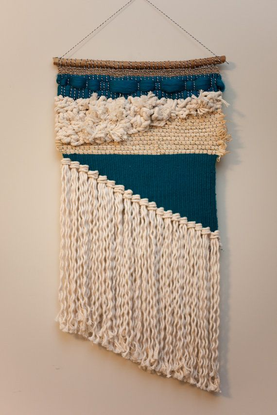 Teal asymmetrical / tapestry wall hanging / weaving with cotton and wool…