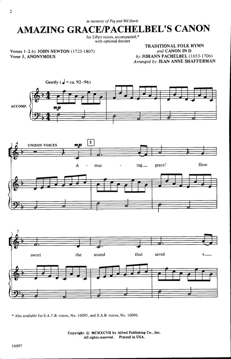Amazing Grace/Pachelbel's Canon (Two-Part ) | J.W. Pepper Sheet Music