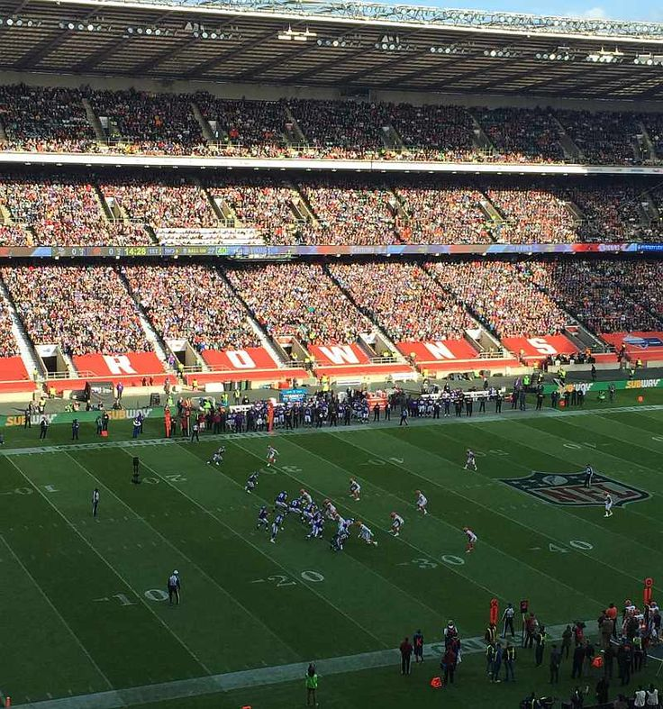 Cleveland Browns on defence at Twickenham Stadium during 2017 NFL London game.