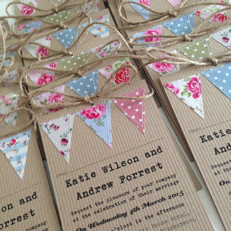 Handmade bunting wedding invitations