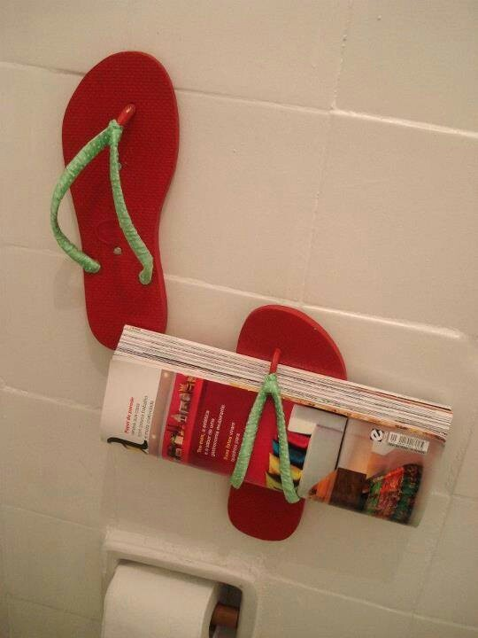 Flip Flop Idea to hold you books/magazines while using the potty!... Great idea but I think you need once flip flops...maybe we will try this out, I love the idea!
