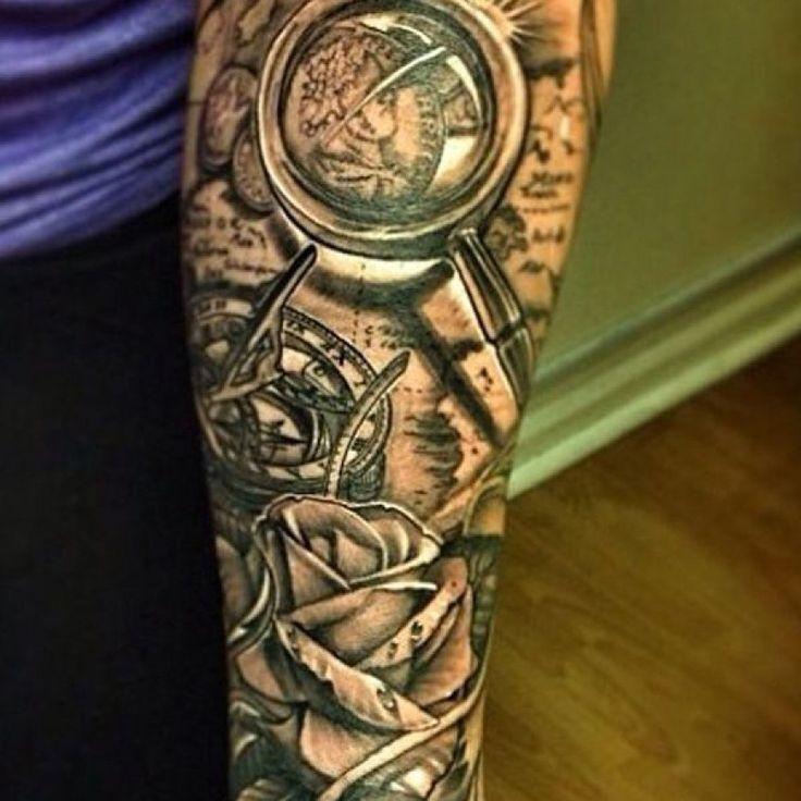 Http://tattoomagz.com/map-and-compass-tattoo/black-flower