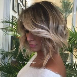 brown bob with blonde balayage by rena