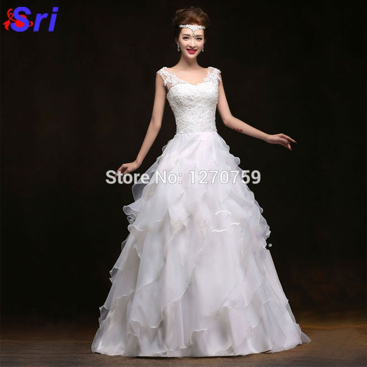 Find More Dresses Information about Hot Sale Double Shoulders White Beads Lace RufflesTrain Wedding Gown Organza Wedding Dresses Vestido De Noiva 2016,High Quality dress golf,China gown corset Suppliers, Cheap dress patterns evening gowns from Sritrade International Co., Ltd on Aliexpress.com