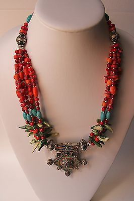 Moroccan Tribal Necklace in Coral and and Turquoise Wirework Enamel Pendant