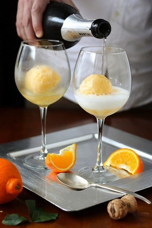 Mimosa with orange sherbert! This sounds so yummy for a Summer brunch!