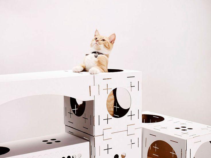 poopy cat un sistema modular de cartn para crear la casa de juegos perfecta a tu gato
