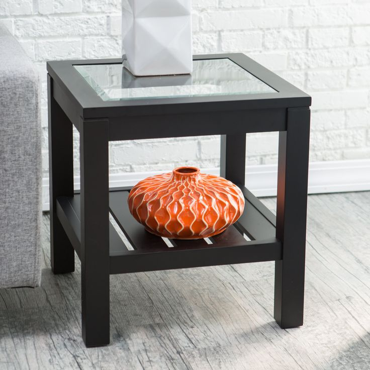 Have to have it. Sutton Glass Top End Table with Slat Bottom - $79.98 @hayneedle