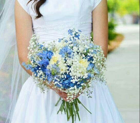 Hand Tied Wedding Bouquet Featuring: White Florals, White Gypsophila, Blue Hydrangea, Blue Delphinium