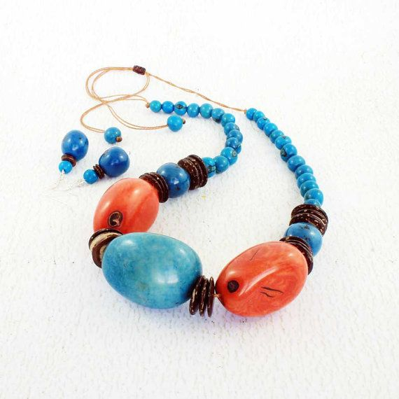 Tagua Nut Necklace for Her  Blue and Orange Necklace