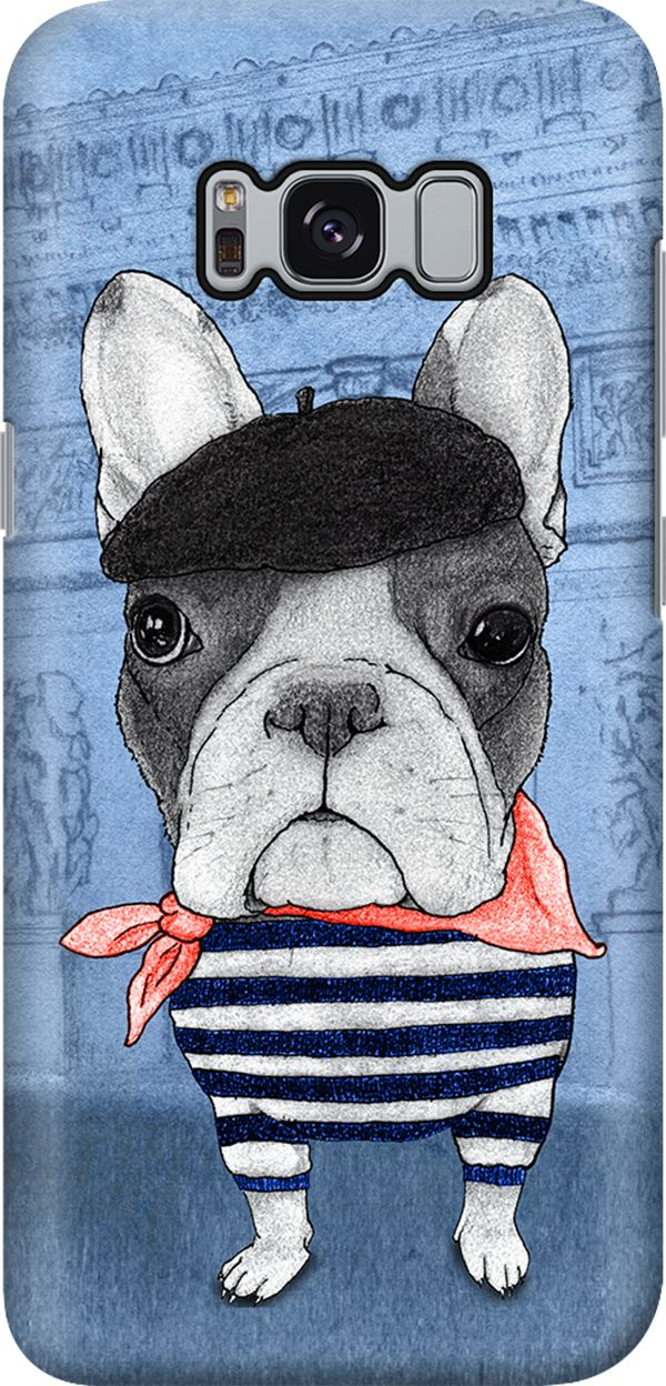 French Bulldog with Arc de Triomphe | Galaxy S8 Smartphone Hard Case by Barruf | available for all phone cases, laptop sleeves, tablet and eReader covers