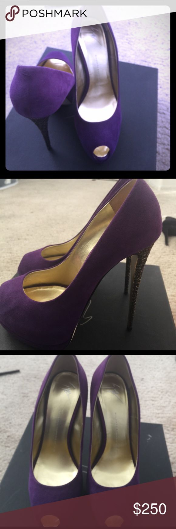 "Beautiful Giuseppe heels 💯% Authentic GZ. Still in great condition,a small mark in the back that's hard to see unless brought close to your eyes.great detail on the heels (6"" heels). Runs half size small Giuseppe Zanotti Shoes Heels"