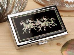 Mother of Pearl 100S Super Slim Cigarette Case with Running Horse Design