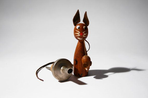 Teak Cat and Mouse Oil Pourer  Mid Century Modern  by LuckyPatina, $25.00