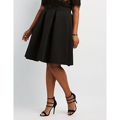 Plus Size Black Full Pleated Scuba Skirt - Size 2X