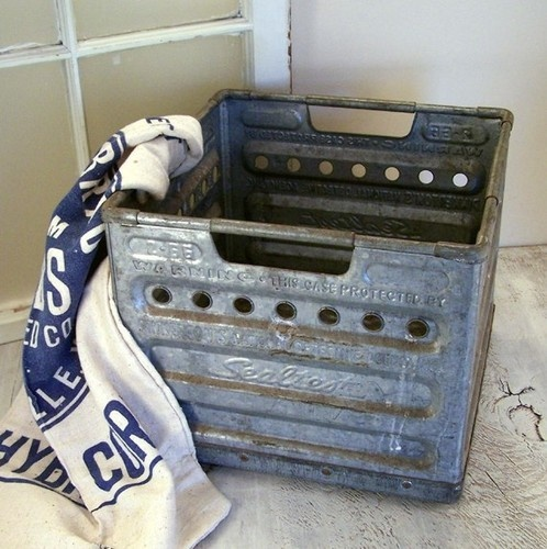 Vintage Sealtest Metal Milk Crate - eclectic - storage boxes - - by Etsy