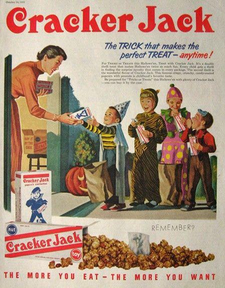 Mid-century vintage Halloween themed Cracker Jack ad. #vintage #food_ads
