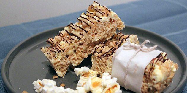 Super dejlig snack, der kombinerer popcorn og chokolade. Det er et hit herhjemme.