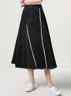 Black Edging High Waist Denim Skirt