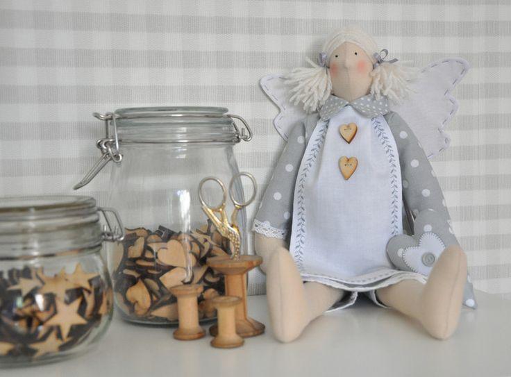 Aniołek Tilda, anioł, lalka, chrzest - arcdeco - Dekoracje pokoju dziecięcego