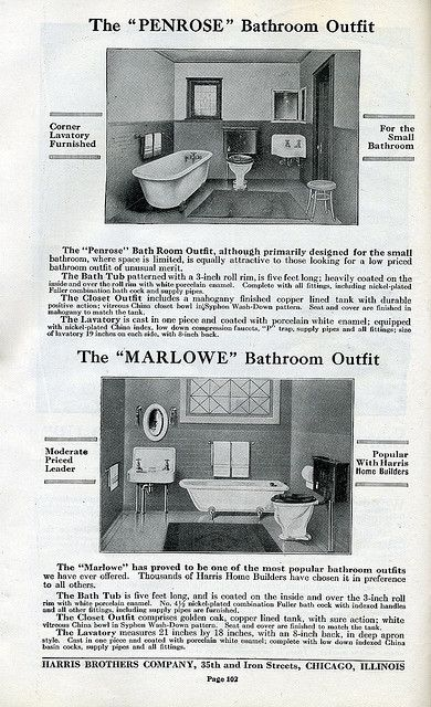 Craftsman Bathrooms available in Harris Homes in 1920.