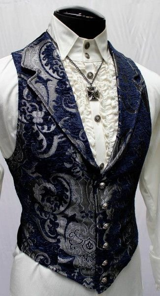 Shrine - VICTORIAN ARISTOCRAT VEST - BLUE/SILVER TAPESTRY