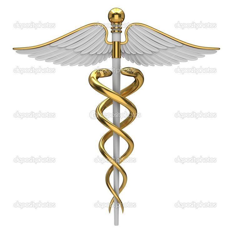 Medical symbol tattoo on shoulder