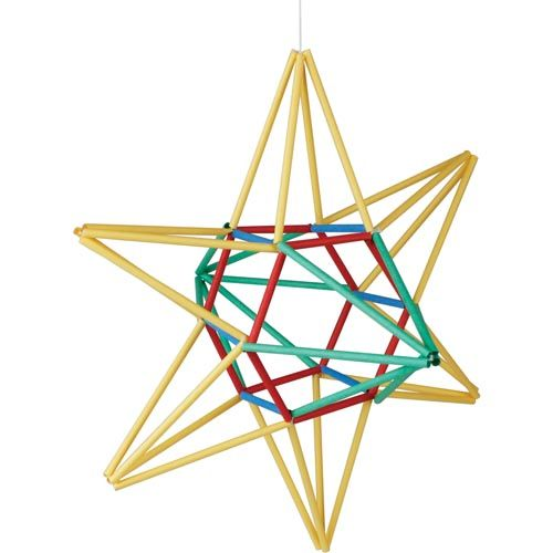 United Art and Education Art Project: Learn how to create a striking Himmeli (a traditional Finnish ornament) Star Mobile using straws and string!