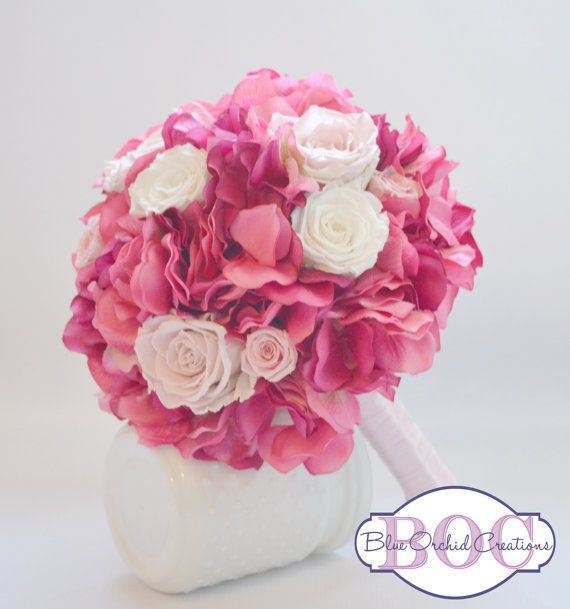 Pink Bouquet with Preserved Roses by blueorchidcreations